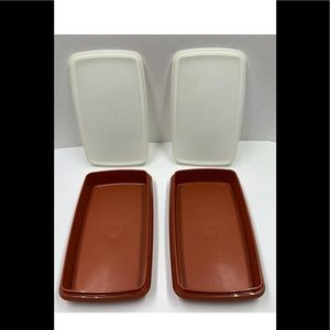 2 Tupperware 816 Deli Keeper Storage w/Lid Paprika
